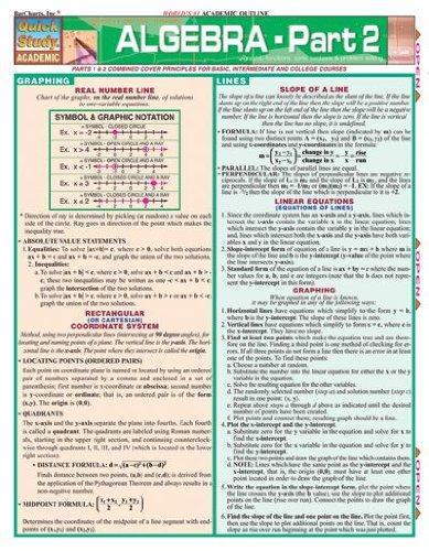 Algebra 2 Study Chart