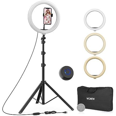 """WONEW Luz de Anillo LED,12"""" Aro de Luz con Trípode 49-167.5cm, 3 Colores 10 Brillos Regulables, Bluetooth Control Remoto, con Soporte Giratorio de Teléfono, para Youtube/ Selfie/ Maquillaje/ TIK Tok"""