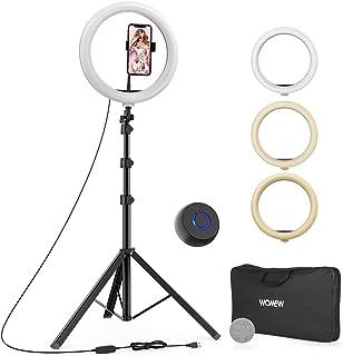 "WONEW Luz de Anillo LED,12"" Aro de Luz con Trípode 49-167.5cm, 3 Colores 10 Brillos Regulables, Bluetooth Control Remoto,..."
