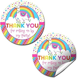 Rainbow Llama Roller Skating Themed Thank You Sticker Labels for Kids, 40 2