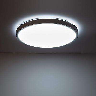 LEDKIA LIGHTING Plafonnier LED pour chambre, salon, cuisine, salle de bain Rond CCT Sélectionnable Bari 24W Gris