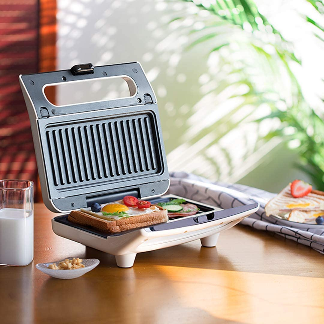 L.TSN Gaufrier à contrôle de température réglable Gaufrier et Planche à Sandwich, près de 2 sandwichs Peuvent être préparés en Quelques Minutes White