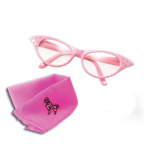 741c9f59fb Bristol Novelty Womens Girls 50S Rock Roll Retro Grease Poodle Scarf Glasses  Fancy Dress Costume