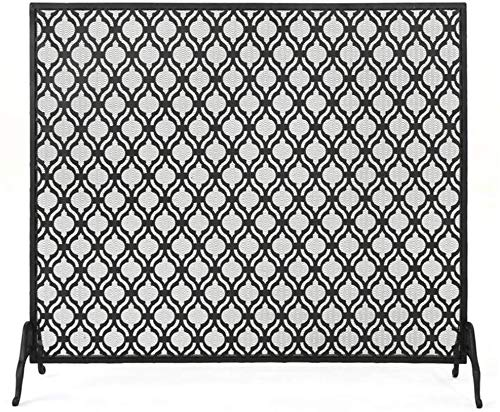 New LJFPB Fireplace Screen Baby Safe with Mesh Cover Flat Single Panel Fire Screen Spark Guard for F...
