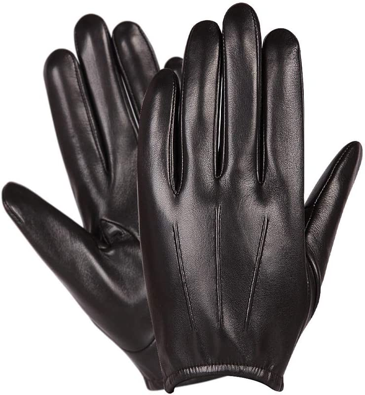 Swftc Men's Leather Windproof and Waterproof Thin Gloves Men's Winter Warm Riding Motorcyc Touch Screen Sheepskin Driving Touch Screen Mitten (Color : Black(Unlined), Size : M)