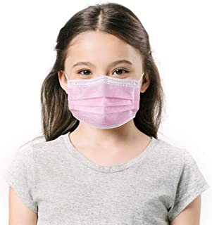 TomrickCare Face Masks for Kids (Age 4-14), Individually Wrapped 50 Pack Children Sized Masks (Pink)