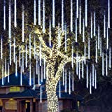 Joiedomi Christmas Meteor Shower Lights Falling Rain Drop Icicle String Lights 540 LEDs 10 Tube 50cm White for Christmas Holiday Party Home Patio Outdoor Decoration