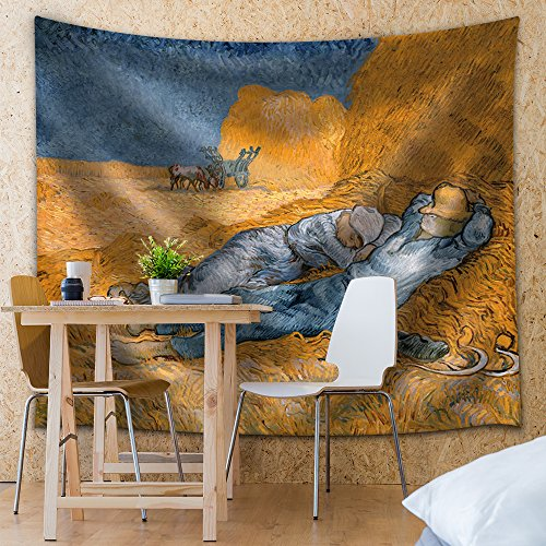 "wall26 - ""Noon, Rest from Work by Vincent Van Gogh - Fabric Tapestry, Home Decor - 68x80 inches"