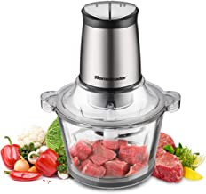 Electric Food Chopper, 8-Cup Food Processor by Homeleader, 2L BPA-Free Glass Bowl Blender Grinder for Meat, Vegetables, Fruits and Nuts, Fast & Slow 2-Speed, 4 Sharp Blades