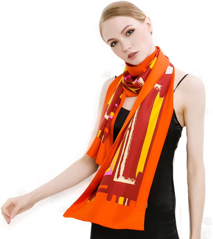 Mingxin womens light thin real silk scarf long length smooth shawl neck wrap