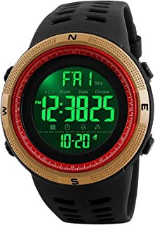 Mens Outdoor Sports Watch Large Face LED Digital Watch 50M Waterproof Military Watches Men's Army Stopwatch