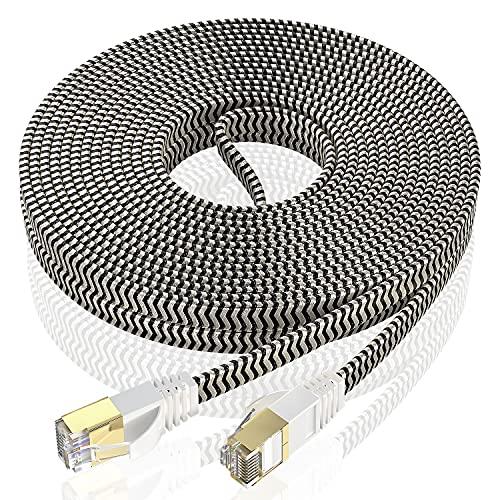 Ethernet-Kabel 5 Meter Cat 7 NäTverkskabel, Rj45-Kabel HöGhastighet 10 Gbps 600 Mhz Platt Internetkabel Nylon GuldpläTerad Ftp-Lan-Kabel FöR Ps5 / Router / Modem / Switch / Tv / Box / Ps4 (5M, 5 Clips)