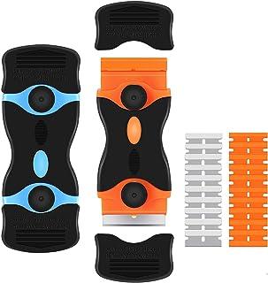 DELFINO 2 Pack Razor Blade Scraper, 2-in-1 Scraper Tool with 10 Pcs Plastic Blades and 10 Pcs Metal Blades, Multi-Purpose ...