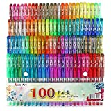 100 Color Glitter Gel Pen Set, 30% More Ink Neon Glitter Coloring...