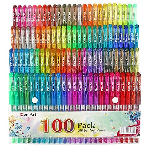Glitter Gel Pen by Aen Art, Set of 100 Unique Colors Glitter Pens
