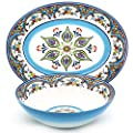 EuroCeramica Zanzibar Collection Vibrant Kitchen and Dining Serveware, 2-Piece Serving Bowl and Oval Platter Set, Spanish Floral Design, Multicolor Blue and White