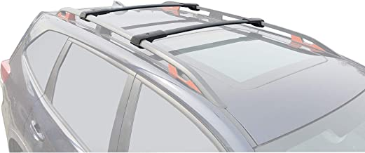 Aluminum Black Roof Top Bar Luggage Carrier IKON MOTORSPORTS Cross Bars Compatible With 2011-2015 Ford Explorer