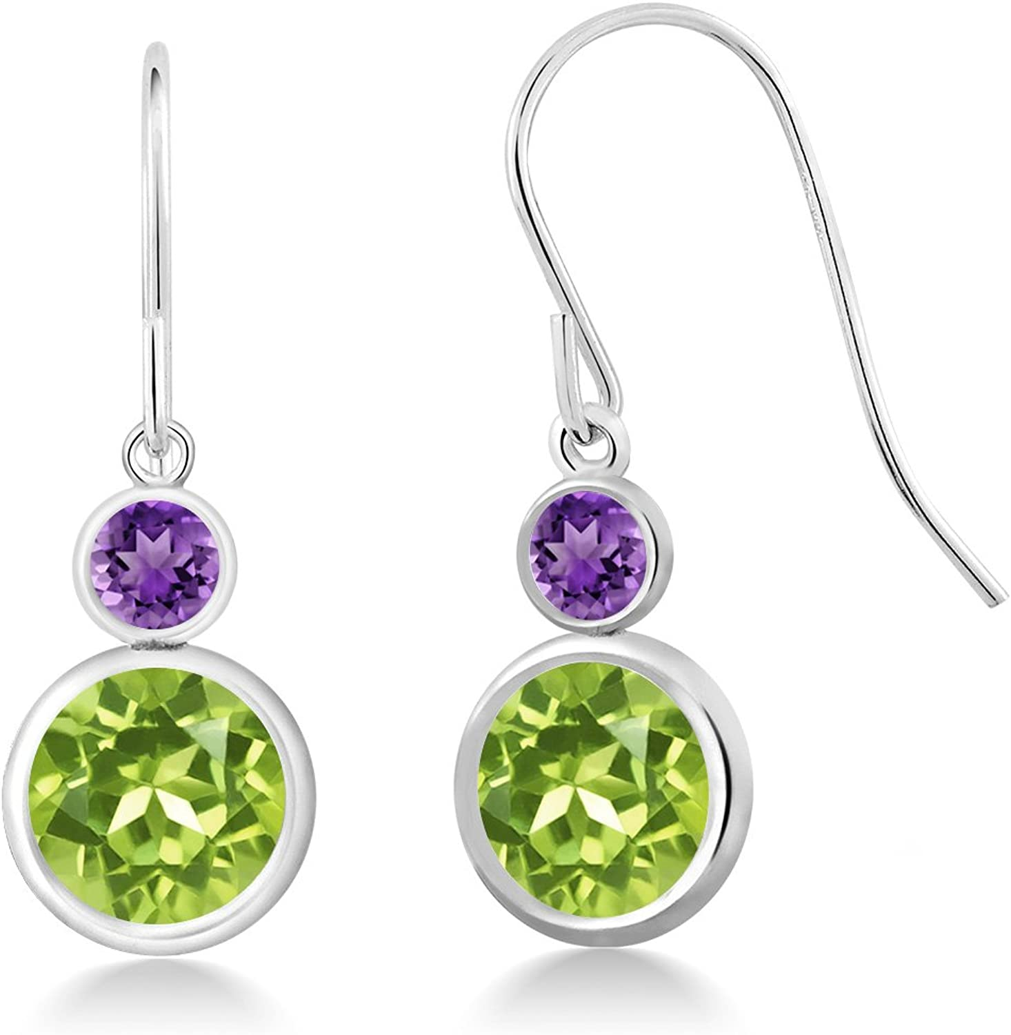 4.20 Ct Round Green Peridot Purple Amethyst 925 Sterling Silver Earrings