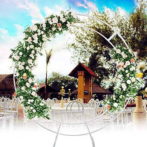 TFCFL Silver Round Wedding Arch Garden Arch Metal Abor, Double Arch Metal Arch Romantic Round Arch Backdrop for Various Climbing Plant Wedding Garden Arch Bridal Party Decoration (1.2)