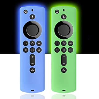 [2 Pack] Silicone Cover Case for TV Stick 4K / TV (3rd Gen) Compatible with All-New 2nd Gen Remote Control (GlowBlue & Glo...