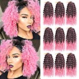 GX Beauty 9 Bundles/Lot Curly Braid Hair Marlybob Crochet Hair 8 inch Pink Ombre Crochet Jerry Curls Braids Hair Synthetic Kinkys Curly Braiding Hair Extensions(1B/Pink)