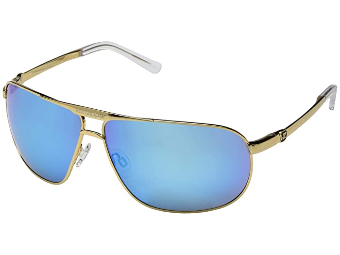 VonZipper Skitch (Gold Gloss/Blue Chrome) Sport Sunglasses