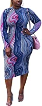 Plus Size Bodycon Dress Women's Long Sleeve Mock Neck African Print Midi Outfits