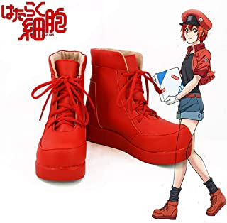 Gowell Anime Working Cell Red blood Cell Cosplay Scarpe Unisex PU Lace-Up High Top Shoes,53