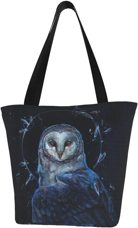 Dream Night Beautiful Blue Owl Themed Printed Women Canvas Handbag Zipper Shoulder Bag Work Booksbag Tote Purse Leisure Hobo Bag For Shopping