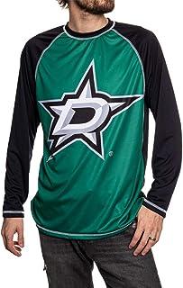 NHL Mens Long Sleeve Performance Active Wear Rash Guard Shirt - Black - Large
