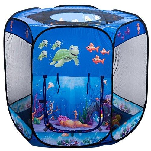 aussergewoehnlich® Blue Ocean 6-Eck UNTERWASSERWELT Bällebad mit 500 blau-transparenten Bällen (DUNKELBLAU)