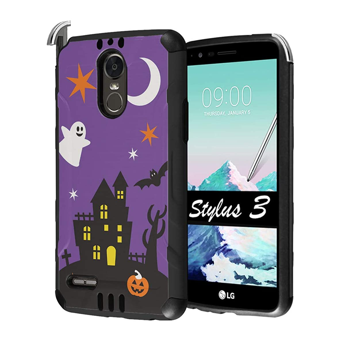 Capsule Case Compatible with LG Stylo 3, LG Stylo 3 Plus [Hybrid Dual Layer Supports Qi Wireless Charging Slim Defender Armor Combat Case Black] for LG Stylus 3 - (Halloween)