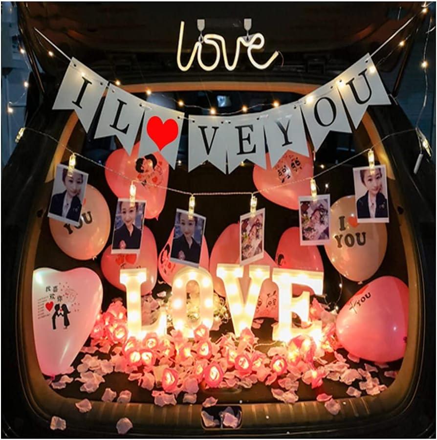 ASKLKD Car Trunk Surprise Decoration Proposal Romantic Arrangeme