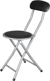 thesecrethome.es Silla Plegable Acolchada Metal con Respaldo Negro | 30 x 39 x 72 cm