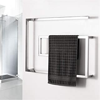 BILLY'S HOME Stainless Steel Towel Warmer, Electric Heated Towel Rack, Hot Towel Rail with Square Bars for Bathroom Kitchen Hotel 800 × 600 × 115mm,Hardwiring