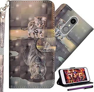 LG K10 2017 Case ISADENSER K20 Plus & K20V & LV5 Case with Shockproof and Card Slots 3D Color Painting Book Series Leather PU Full Protect Flip Kickstand Cover for LG K10 2017 3D Cat View of Life YX