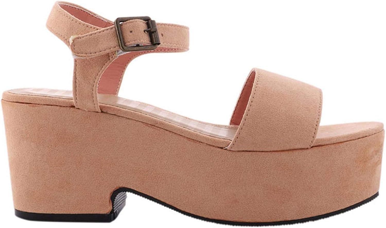 Wedge Sandals Women High Heels Sandals Summer Sexy Ladies Party Platform shoes Flock Buckle Sandalie