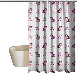 Genhequnan Girls Shower Window Curtain Waterproof Little Mythical Horse Pony Unicorn with Stars and Dots Fantasy Theme Artwork Print Bathroom Shower Curtain W108 x L70 Inch White Violet