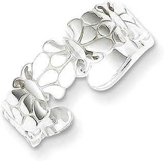 Lex & Lu Sterling Silver Polished Butterflies Toe Ring