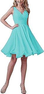 Botong V Neck Chiffon Beach Wedding Bridesmaid Dress Knee Length Homecoming Dress