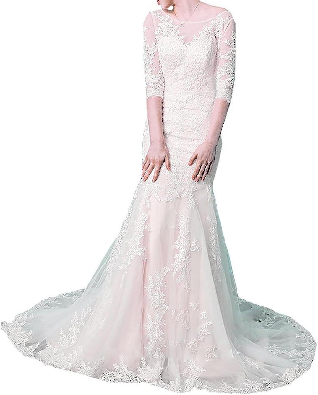 Baixia Half Sleeve Lace Applique Wedding Dresses Bride Ball Gowns