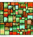 Windowpix 105 Autumn Stained Glass Geometric Pattern - PEEL and STICK Static Cling UV protection, Energy Saving Window Film Printed on Clear for Glass panels