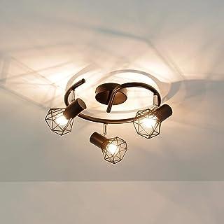 Lámpara de techo retro de metal, 3 focos, diseño geométrico, pantalla de alambre MIA, para salón