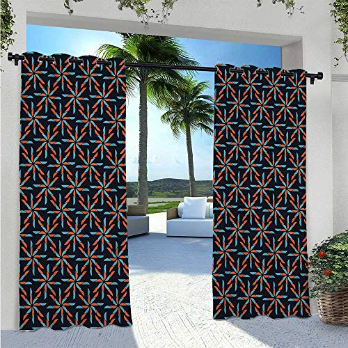 Home Curtains Pinwheel Designs with Dark Toned Backdrop Abstract Pattern Star Motifs Blackout Patio Outdoor Curtains for Bedroom/Living Room Indigo Vermilion Blue W96 x L84 Inch