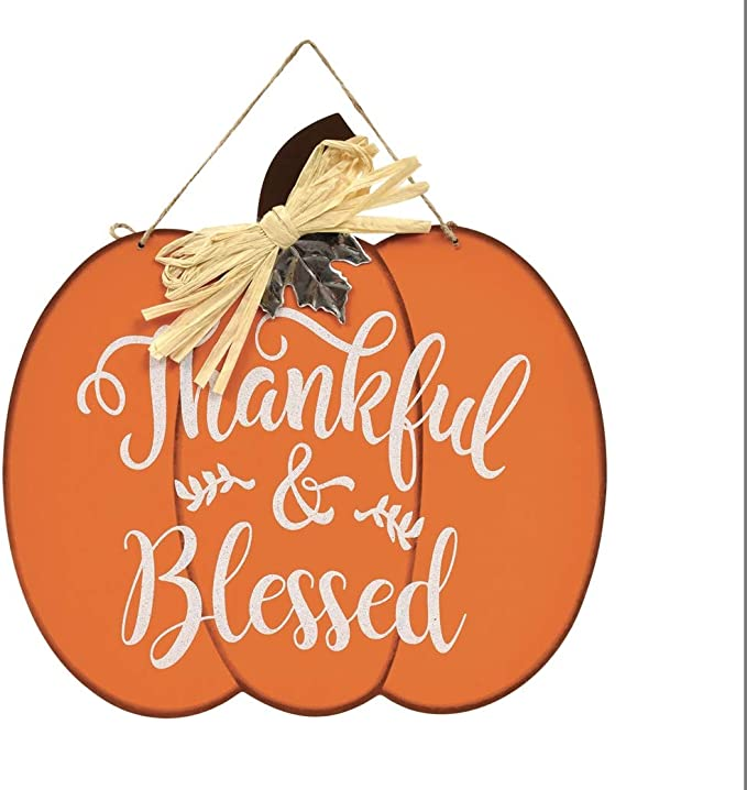 SM Thankful Grateful Blessed Ornament Signs 3pc PBK Fall Decor