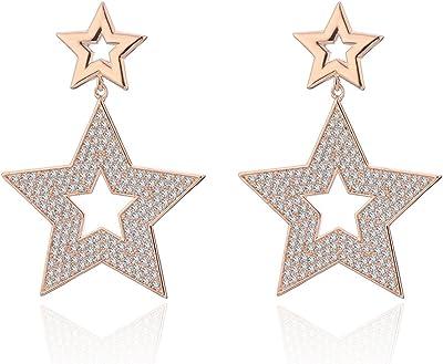 Orecchino a pendente per donna, orecchino a stella con pendente Orecchini a bottone in oro con orecchino in argento Orecchini in acciaio con cristallo (Oro rosa)
