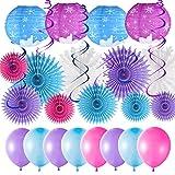 Chromine Party-Dekorationsset, blau, lila, 109 Luftballons, 2 blaue Folien-Vorhänge, Ahornblätter, Schneeflocken