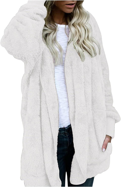 Women's Fuzzy Fleece Open Front Hoodies Comfy Soft Warm Faux Fur Long Sleeve Shearling Shaggy Coat Jacket with Pocket