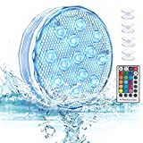 LOFTER Submersible LED Lights with Magnet, 16 Colors Underwater Pond Lights with RF Remote, 13 LEDs, Suction Cup, Upgraded Waterproof Hot Tub Light for Pond Fountain Aquariums Vase Garden Party 1 Pack