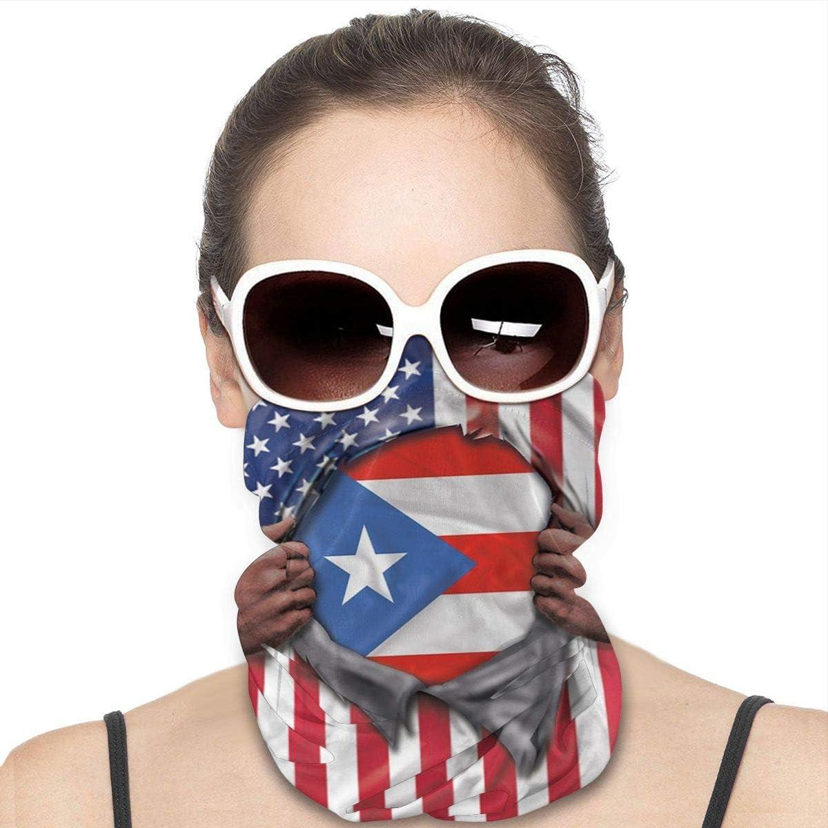 JinSPef Motorcycle Masks for Men - Puerto Rico Flag American Flag Ripped Motorcycle Mask Fishing Multifunctional Headwear Head Bands Sport Mask Headbands Face Mask Bandana